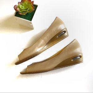 Cole Haan Nike Air Beige Peep Toe Wedge Heel